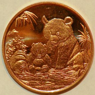 oz 999 Pure Copper Bullion 2012 Panda Design Coin