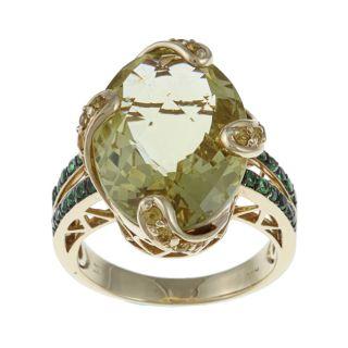 Encore by Le Vian 18k Yellow Gold Quartz/ Sapphire/ Garnet Ring