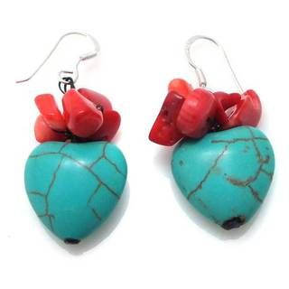 Reconstructed Turquoise and Red Coral Lovely Heart Earrings (Thailand
