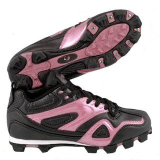 ACACIA Youth Pink Base Hit Low Softball Cleats BLACK/PINK 1Y Shoes
