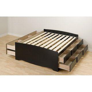 Black Tall Full 12 drawer Captains Platform Storage Bed