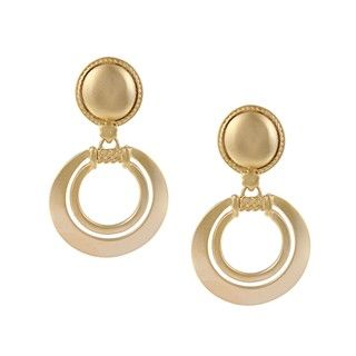 Clara Studio Goldtone Nautical Circle Clip On Earrings