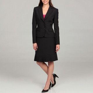 Tahari Womens Navy/ White Pleated Collar Pinstriped Skirt Suit
