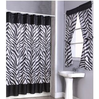 Zebra Print Shower Curtain Set and 4 piece Window Set