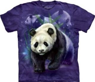 Panda Bear Collage Mens Purple Tee Clothing