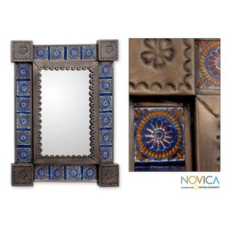 Handcrafted Tin and Ceramic Colonial Blue Wall Mirror (Mexico