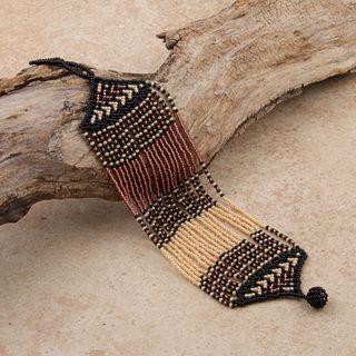 Glass Zulu String Brown/ Black/ Pink Bracelet (South Africa