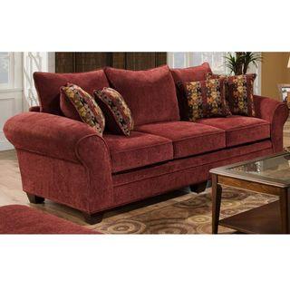 Burlington Masterpiece Burgundy/ Palmero Mosaic Pillows Sofa Set