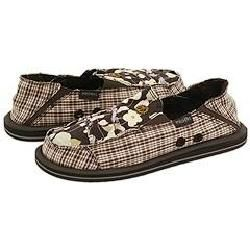 Skechers Chi Chi   Glitter Bug Chocolate Patchwork Canvas Flats   Size