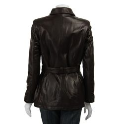 Izod Womens Zip front 20 inch Belted Leather Coat
