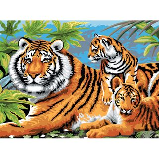 Junior Large Paint By Number Kit Tiger & Cubs