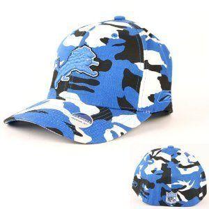 Detroit Lions Reebok NFL Black & Blue Camo Flex Fit Hat
