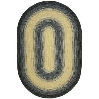 Hand woven Reversible Yellow/ Black Braided Rug (9 x 12 Oval