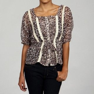 Romeo & Juliet Womens Leopard Print Elbow Sleeve Lace Trim Top