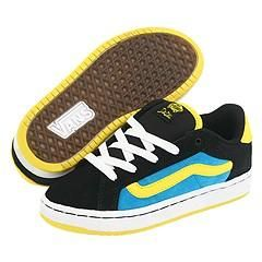 Vans Kids No Skool V (Toddler/Youth) Black/Yellow/Blue Athletic