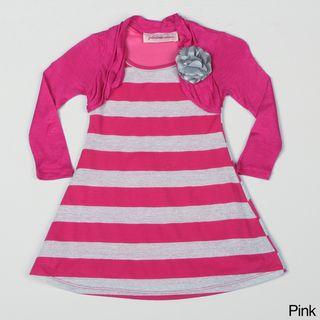 Paulinie Collection Girls 2fer Striped Dress