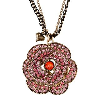 Betsey Johnson Large Pave Rose Pendant Necklace