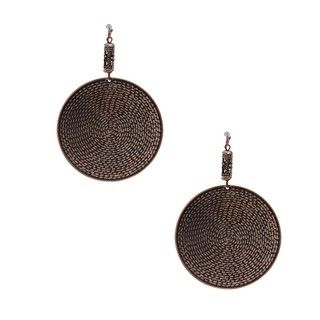 NEXTE Jewelry Rose Gold Overlay Antiqued Maya Disc Earrings