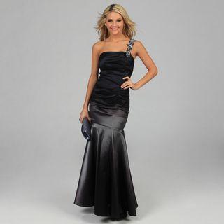 Betsy & Adam Womens Black Ombre One shoulder Long Dress