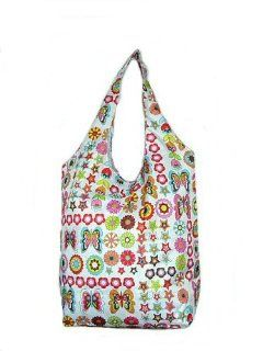 Sturdy Shopping Tote Bag   Flowers Butterflies Stars Pattern Shoes