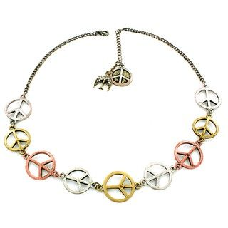 Tri tone Peace Sign and Dove Charm Necklace
