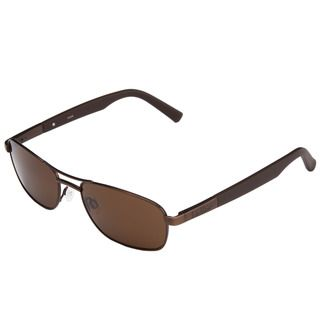 Bolle Mens Avenue Brown Satin Metal Aviator Sunglasses