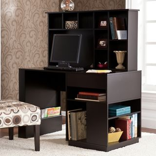 Fairview Antique Black L Desk With Hutch Bush Furniture
