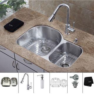 Kraus 30 inch Undermount Double Bowl Stainless Steel Kitchen Sink with
