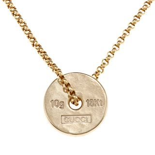 Gucci 18k Yellow Gold 10 gram Ingot Estate Necklace