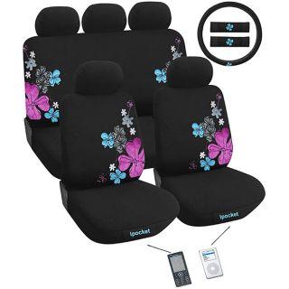 Suede Flowers 12 piece Automotive Seat Cover Set