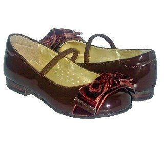Little Girls Brown Patent Bow Dress Slippers Shoes 1 IM Link Shoes