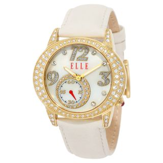 Elle Womens White Leather Strap Watch