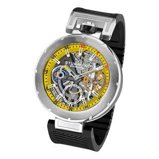 Stuhrling Original Mens Emperor VT Automatic Black Rubber Strap Watch