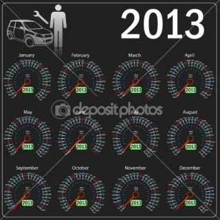 2013 year calendar speedometer car in vector. — Foto Stock #9934590