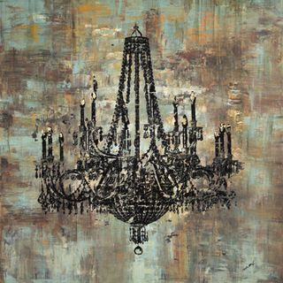 Art in Style Black Chandelier Hand Painted Canvas Wall Art