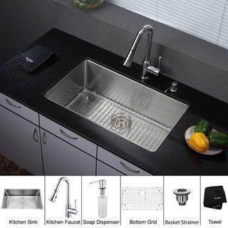 Kraus 32 inch Undermount Single Bowl Stainless Steel Kitchen Sink with