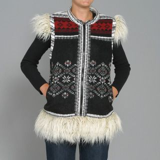 Black Mountain Womens Faux Fur Fair Isle Patch Vest