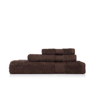 Pima Cotton Chevron Border Dark Brown 3 piece Towel Set