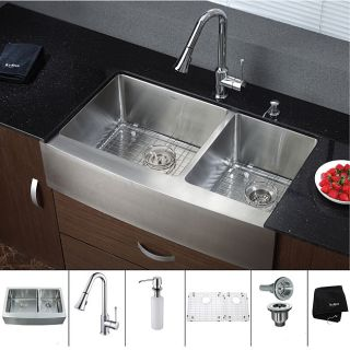 Kraus 33 inch Farmhouse Double Bowl Stainless Steel Kitchen Sink with