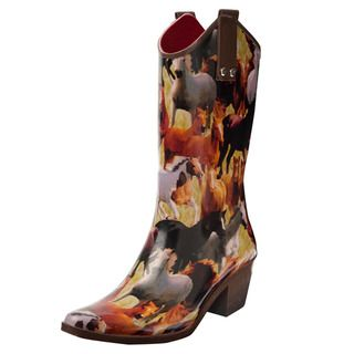 Henry Ferrera Womens Horse Mural Printed Cowboy Style Rain Boots