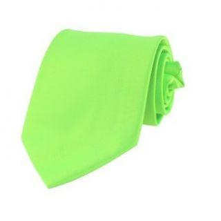 Mens Solid Neon Green Satin Necktie Neck Tie Clothing