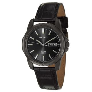 Seiko Mens Solar Black Stainless Steel Watch