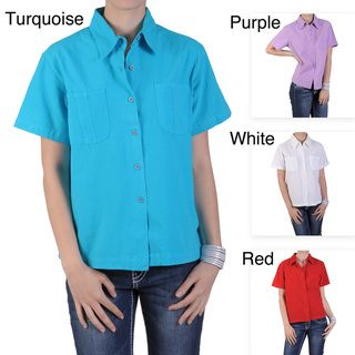 Tressa Designs Womens Pointed Collar Button up Camp Shirt