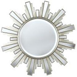 Luminary 34 inch Sun Ray Antique Silver Wall Mirror