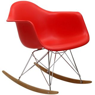 Red Molded Plastic Armchair Rocker in Red