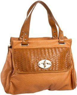 Melie Bianco Beatrice Woven Flap Satchel,Tan,one size Shoes