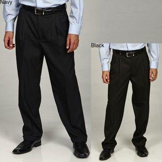 Eddie Domani Mens Pleated Button Tab Dress Pants