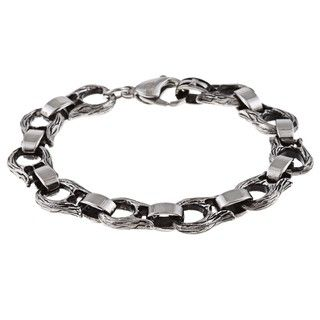 Stainless Steel Mens Angel Wing Link Bracelet