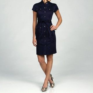 Calvin Klein Womens Belted Stand Collar Dress