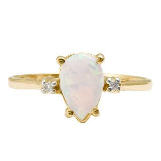 10k Yellow Gold Created Opal and Diamond Accent Ring